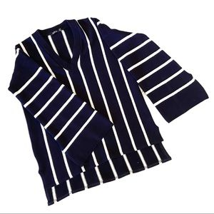 Boohoo blue and white striped bell sleeve sweater
